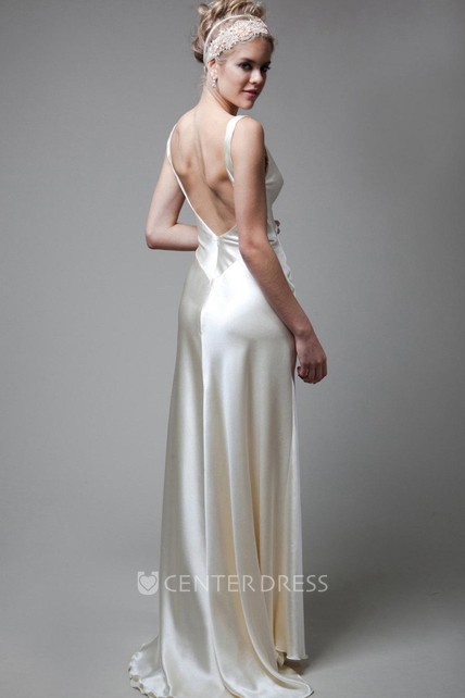 V-Neck Empire Sleeveless Deep-V Back Sheath Long Satin Wedding Dress ...