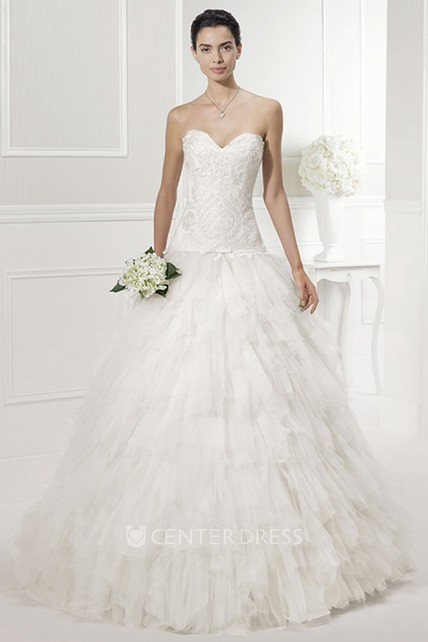 Drop Waist Wedding Dress.Jewel Sweetheart Drop Waist Bridal Gown With Tiered Tulle Skirt