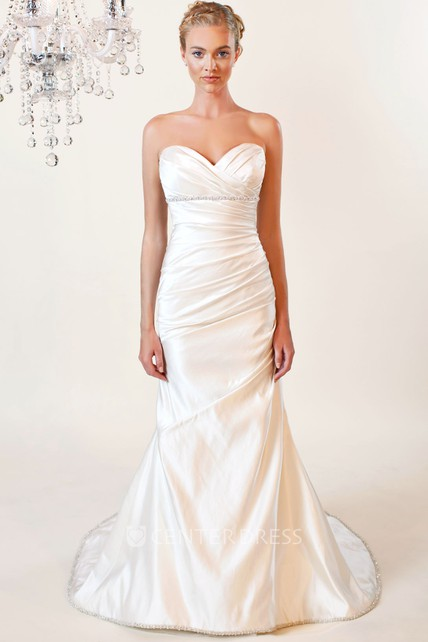 cf20edb7679 Trumpet Sweetheart Jeweled Floor-Length Taffeta Wedding Dress With Criss  Cross And V Back - UCenter Dress