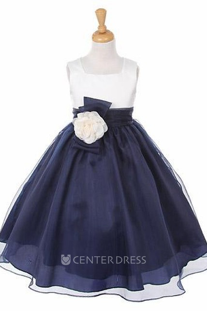 Floral Floral Bowed Organza&Satin Flower Girl Dress With Sash
