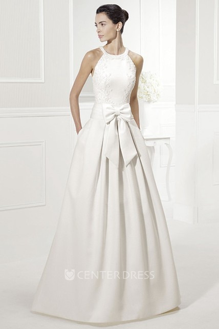efc90ba7c Halter Style Taffeta Bridal Gown With Bow And Appliques - UCenter Dress