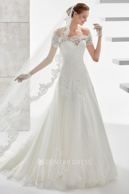 c95072fe216 Sweetheart Off-Shoulder Draping Wedding Dress With Scalloped Neckline And  Lace Appliques - UCenter Dress