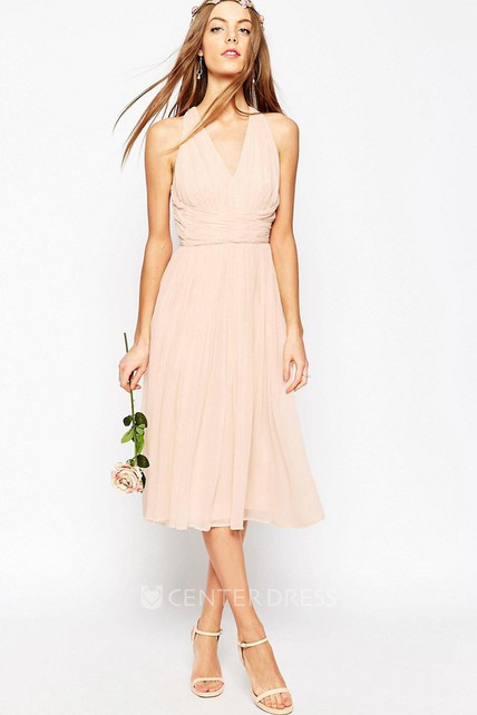 V-Neck Tea-Length Pleated Sleeveless Chiffon Bridesmaid Dress With Ruching And Straps