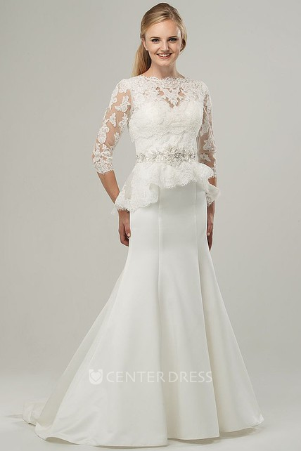 06886aa6142 Trumpet Floor-Length High Neck 3-4-Sleeve Jeweled Satin Wedding Dress With  Appliques And Peplum - UCenter Dress