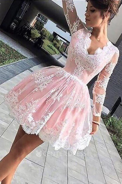 10b9c4569f A-line Ball Gown Short Mini Long Sleeve Scalloped V-neck Pleats Ruching  Lace Homecoming Dress - UCenter Dress