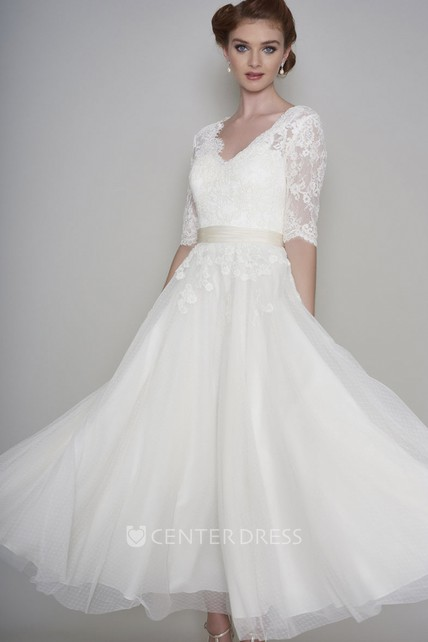 Simple Lace and Organza A-line Button Back Half Sleeve Wedding Dress