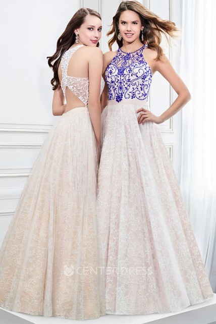 A-Line Scoop Neck Sleeveless Beaded Lace Prom Dress With Pleats