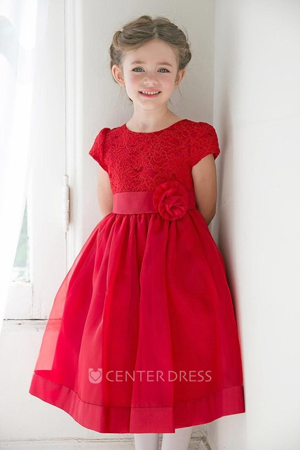 Tea-Length Floral Tiered Lace&Organza Flower Girl Dress With Ribbon