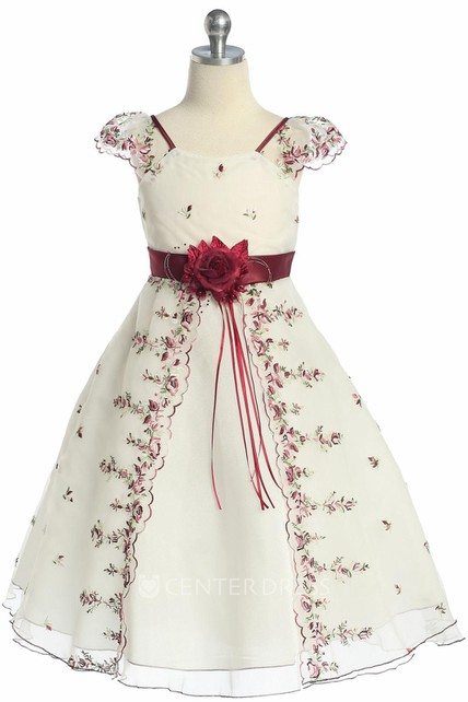 dcb088010b Split Tea-Length Floral Bowed Organza Flower Girl Dress With Embroidery - UCenter  Dress