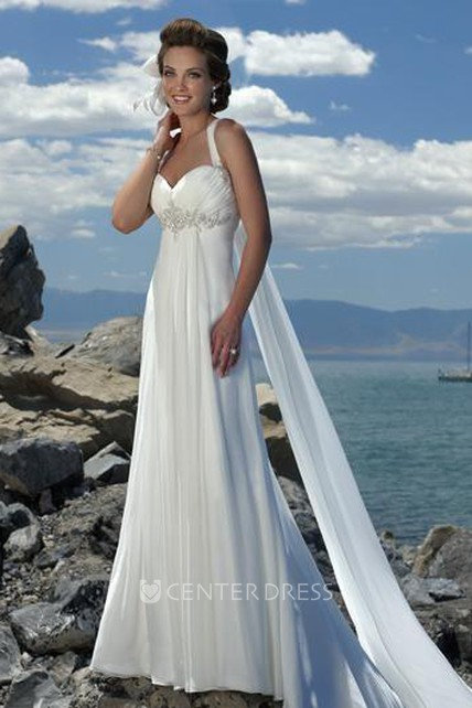 15e4737842c Empire Waist Spaghetti Straps Brush Train Chiffon Beach Wedding Dress -  UCenter Dress