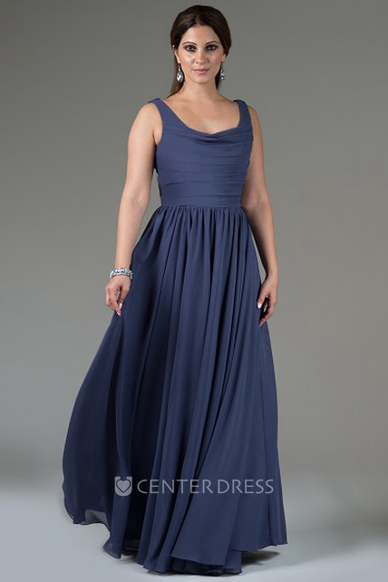 1926f834911 Pleated Chiffon Long Bridesmaid Dress With Cowl Neck And Cowl Back - UCenter  Dress