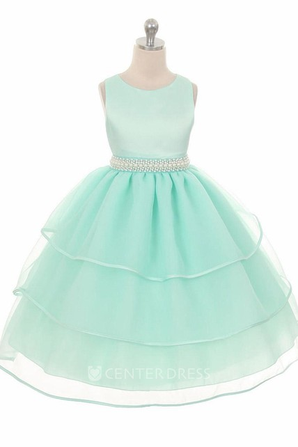 Tea-Length Sleeveless Beaded Organza&Satin Flower Girl Dress