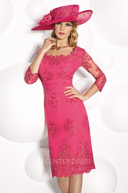 Mini Square Neck Appliqued Illusion Sleeve Chiffon Mother Of The Bride Dress