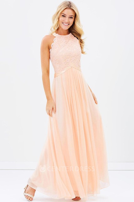 Sleeveless Appliqued Scoop Neck Chiffon Bridesmaid Dress With Ribbon