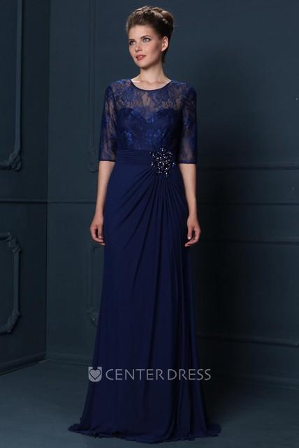 5b5f8d97a8 Scoop Neck Draped Half Sleeve Chiffon Mother Of The Bride Dress - UCenter  Dress