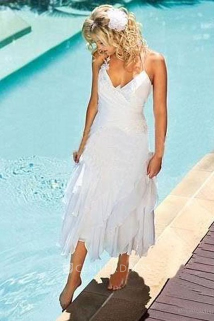 Summer A Line Halter Chiffon Wedding Gown with Ruffles