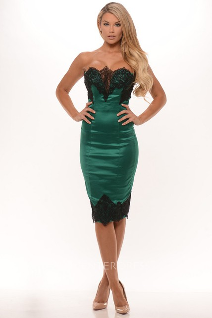 Pencil Sleeveless Strapless Knee-Length Lace Satin Prom Dress