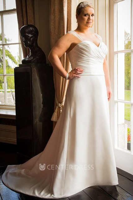Illusion Straps Sweetheart A-Line Bridal Gown With Train - UCenter Dress