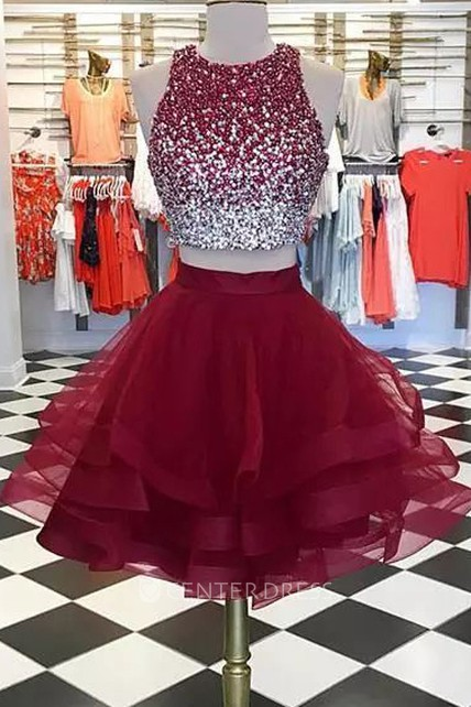 Two Piece Short Mini Sleeveless High Neck Beading Ruffles Tulle Homecoming Dress