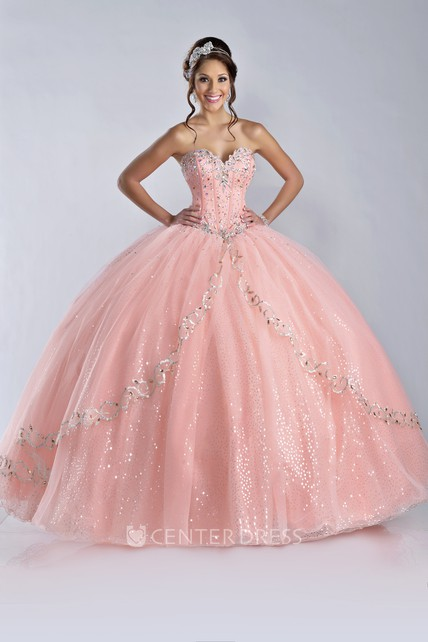 Sequin Embellished Sweetheart Ball Gown With Lace-Up Back