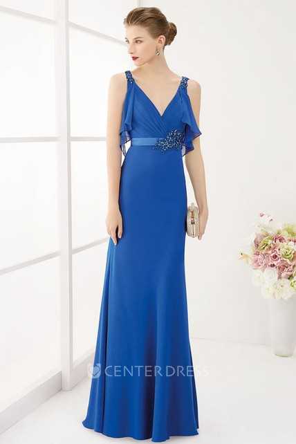 V Neck Empire Crystal Satin Sash Long Prom Dress With Removable Wrap Top