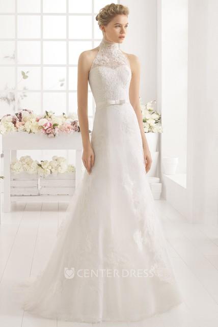 8c21b27c76a A-Line High-Neck Appliqued Sleeveless Floor-Length Lace Wedding Dress - UCenter  Dress