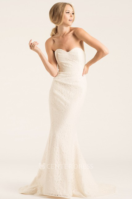 Sheath Sweetheart Lace Wedding Dress With Deep-V Back - UCenter Dress