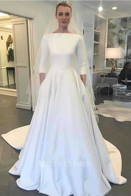 Modest Satin A-line 3/4 Sleeve Ruched Bridal Gown