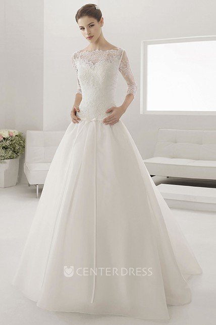 fce89e0448b44 Illusion Bateau Drop Waist Ball Gown With Sash And 3-4 Sleeves - UCenter  Dress