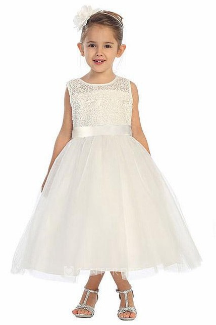 Tea-Length Illusion Bell-Sleeve Beaded Tulle&Lace Flower Girl Dress