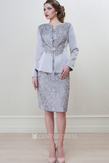 Pencil Knee-Length Long Sleeve Bateau Neck Appliqued Satin Mother Of The Bride Dress