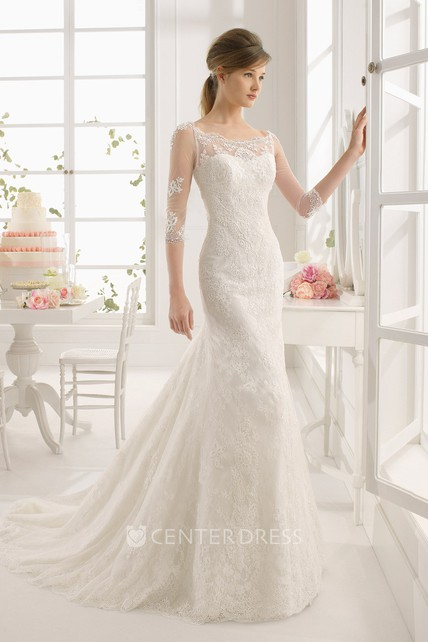 3c538dcf231b Maxi Scoop Half Sleeve Appliqued Lace Wedding Dress With Watteau Train And  Illusion - UCenter Dress