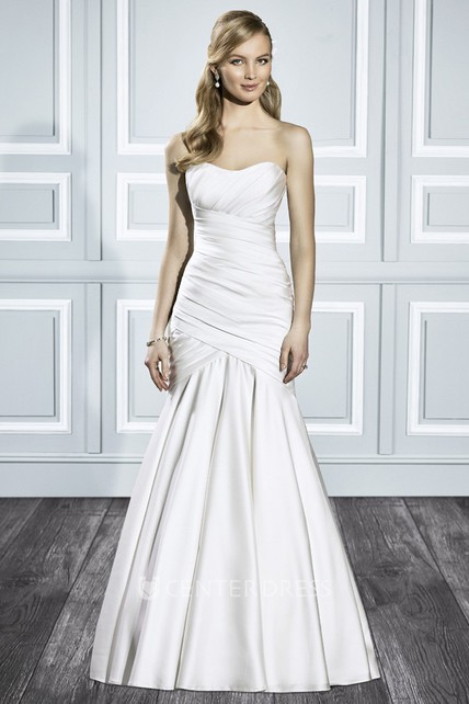 Trumpet Strapless Long Satin Wedding Dress With Ruching And V Back