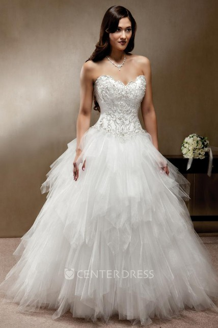 e9caa5be84f5b Ball-Gown Sleeveless Long Sweetheart Cascading-Ruffle Tulle Wedding Dress  With Beading And Corset Back - UCenter Dress