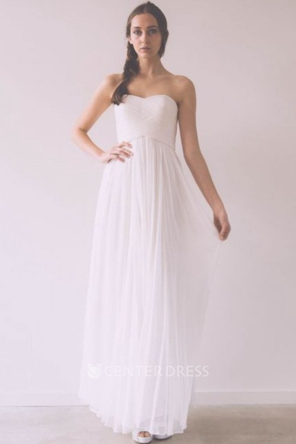 6420298813d A-Line Sleeveless Sweetheart Floor-Length Ruched Tulle Wedding Dress With  Pleats - UCenter Dress