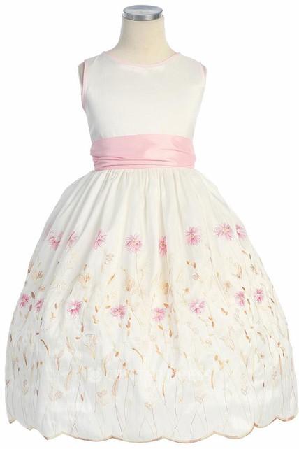 09b60a55ba Floral Tea-Length Bowed Taffeta Flower Girl Dress With Embroidery - UCenter  Dress