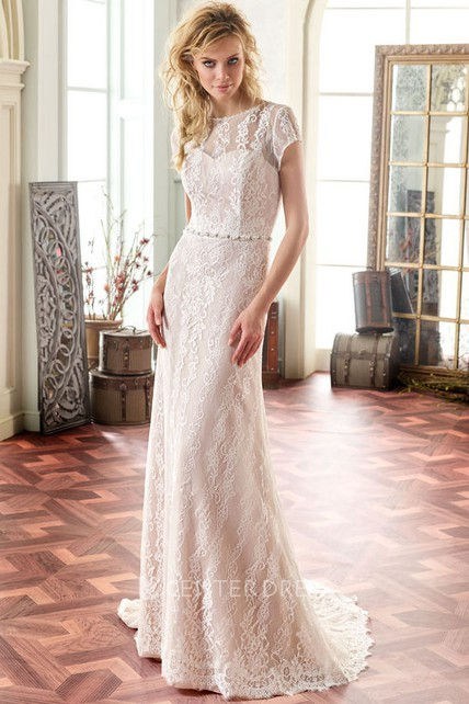 51bd5bd4f Maxi Scoop Cap-Sleeve Jeweled Lace Wedding Dress With Sweep Train And V Back  - UCenter Dress
