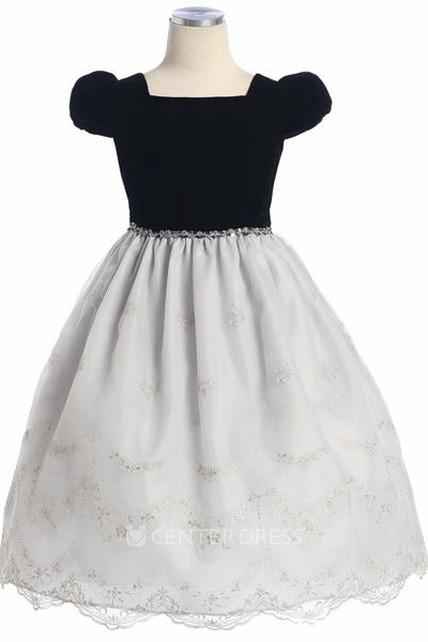 a7f4fff1cb Tea-Length Bowed Cap-Sleeve Organza Flower Girl Dress - UCenter Dress