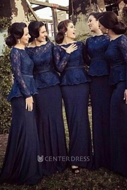 3804bae6bf Sheath Bateau Long Sleeves Sweep Train Lace Chiffon Bridesmaid Dresses -  UCenter Dress