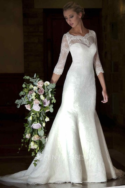 7e5bb1bf5dc53 Mermaid 3-4-Sleeve V-Neck Lace Wedding Dress With Illusion - UCenter Dress