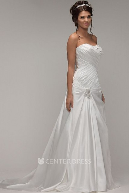 19e6e839d02 A-Line Strapless Beaded Maxi Satin Wedding Dress With Criss Cross And Broach  - UCenter Dress