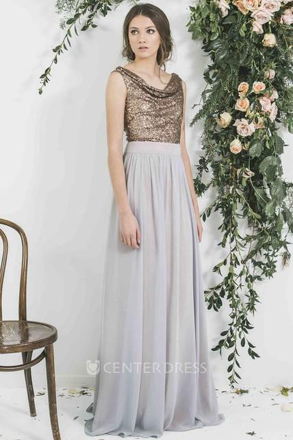 c959c1dfe46 Sequined Sleeveless Cowl Neck Chiffon Bridesmaid Dress - UCenter Dress