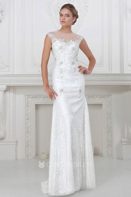 041b13c41348 Sheath Long Cap-Sleeve Jewel-Neck Appliqued Lace Wedding Dress With Beading  - UCenter Dress