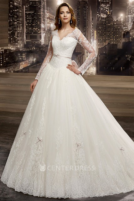 4e8fd3e710641 Illusion V-neck A-line Wedding Dress with Long Sleeves and Back Bow - UCenter  Dress
