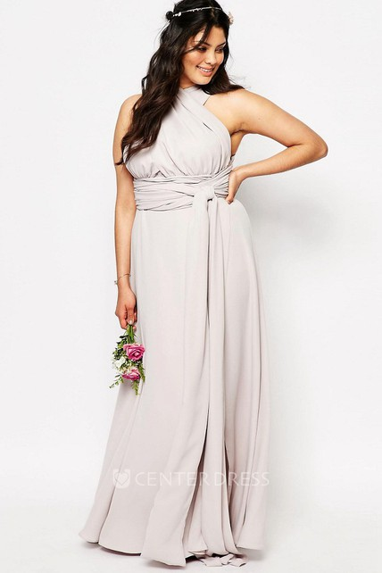 6e6625bb7d88 Halter Sleeveless Ruched Chiffon Bridesmaid Dress With Split Front -  UCenter Dress