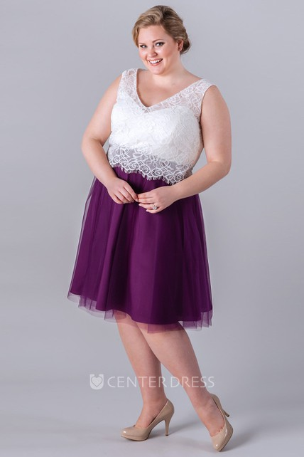 a213f102ff1a1 Short V-Neck Lace Sleeveless Tulle Bridesmaid Dress - UCenter Dress