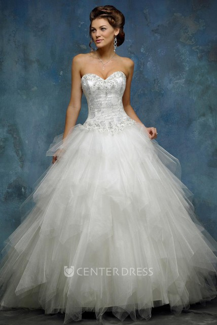 4ca61e71cf97f A-Line Ball-Gown Sweetheart Floor-Length Sleeveless Cascading-Ruffle Tulle  Wedding Dress With Beading And Lace-Up Back - UCenter Dress