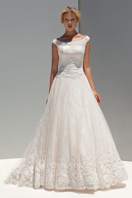 1c89f1ea4074 A-Line Cap-Sleeve Appliqued Long Scoop-Neck Lace Wedding Dress - UCenter  Dress