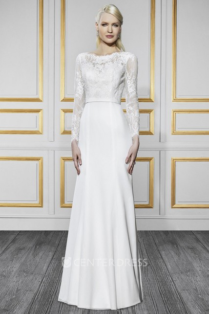d53914b1afb0 Bateau Long Long-Sleeve Appliqued Chiffon Wedding Dress With Sweep Train  And V Back - UCenter Dress
