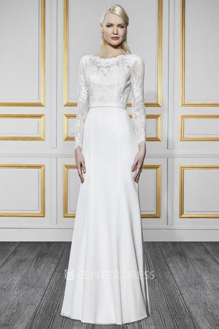 085cb59dc74 Bateau Long Long-Sleeve Appliqued Chiffon Wedding Dress With Sweep Train  And V Back - UCenter Dress